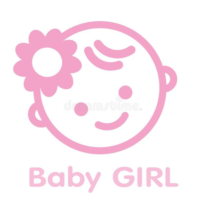 Απομονωμένο σύμβολο υπόβαθρο εικονιδίων προσώπου κοριτσάκι απεικόνιση αποθεμάτων