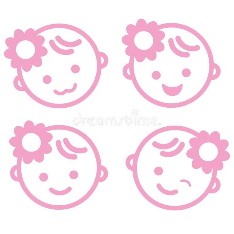 Απομονωμένο σύμβολο υπόβαθρο εικονιδίων προσώπου κοριτσάκι ελεύθερη απεικόνιση δικαιώματος