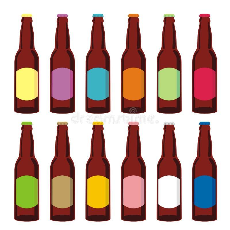 απομονωμένο σύνολο μπουκαλιών μπύρας απεικόνιση αποθεμάτων