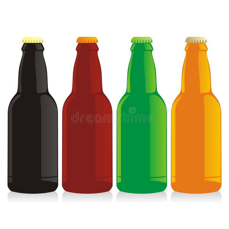 απομονωμένο σύνολο μπουκαλιών μπύρας διανυσματική απεικόνιση