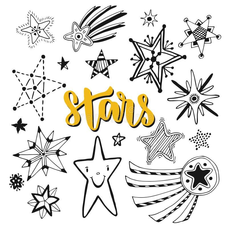 Απομονωμένο σύνολο αστεριών doodles Περιγραμματική συρμένη χέρι διανυσματική απεικόνιση ελεύθερη απεικόνιση δικαιώματος