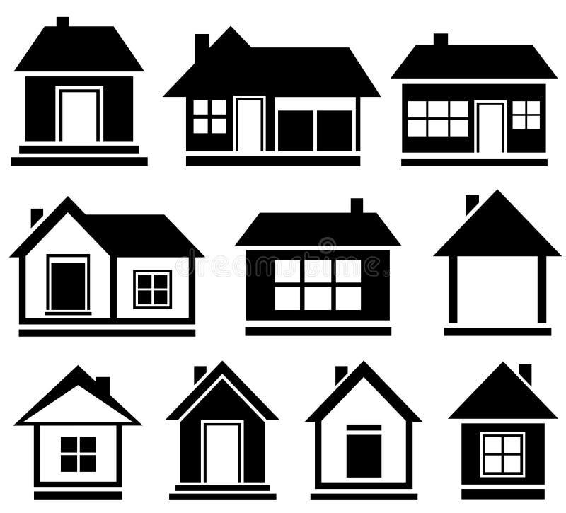 Απομονωμένο σύνολο σπίτι απεικόνιση αποθεμάτων