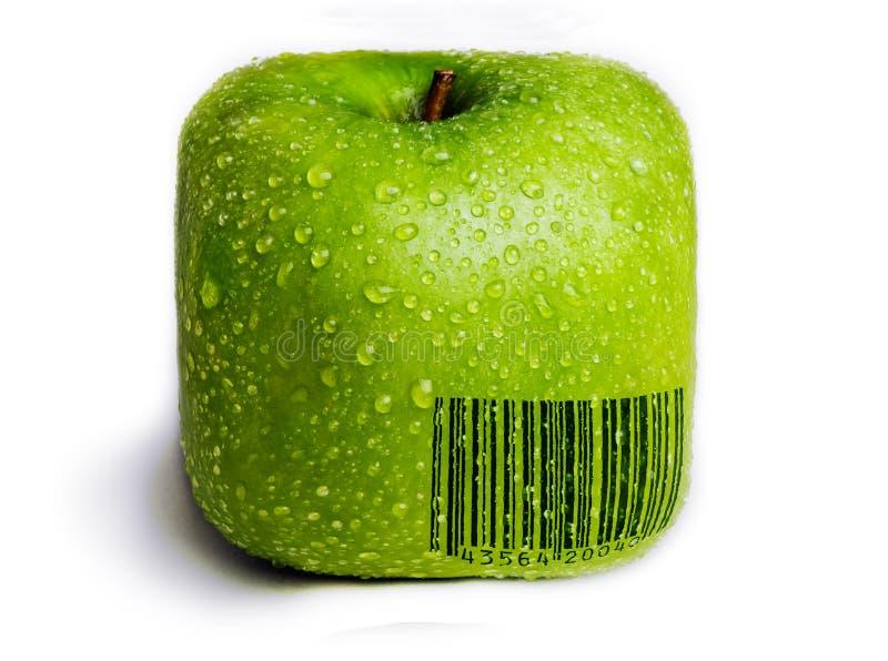 Απομονωμένο τετραγωνικό πράσινο μήλο στοκ εικόνες