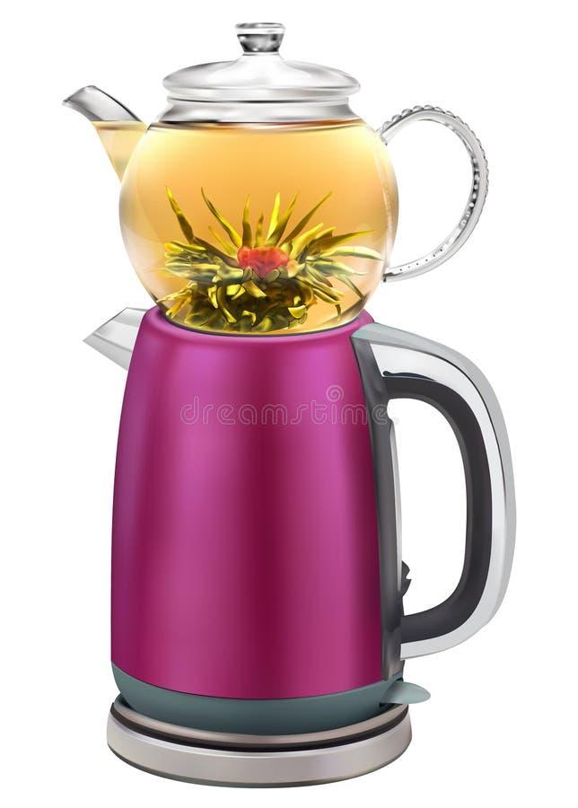 Απομονωμένο τουρκικό teapot με τις διπλές συσσωρευμένες κατσαρόλες που επιτρέπουν στο τσάι για να παρασκευαστεί σε ένα ενώ ζεστό  διανυσματική απεικόνιση