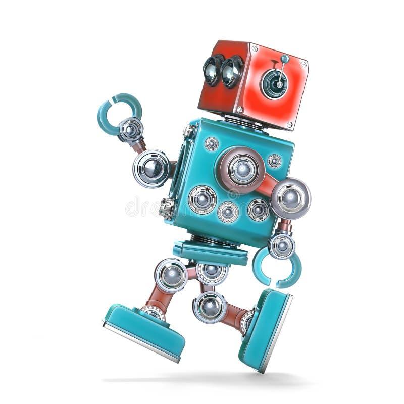 απομονωμένο τρέχοντας λευκό ρομπότ απομονωμένος Περιέχει το μονοπάτι ψαλιδίσματος διανυσματική απεικόνιση