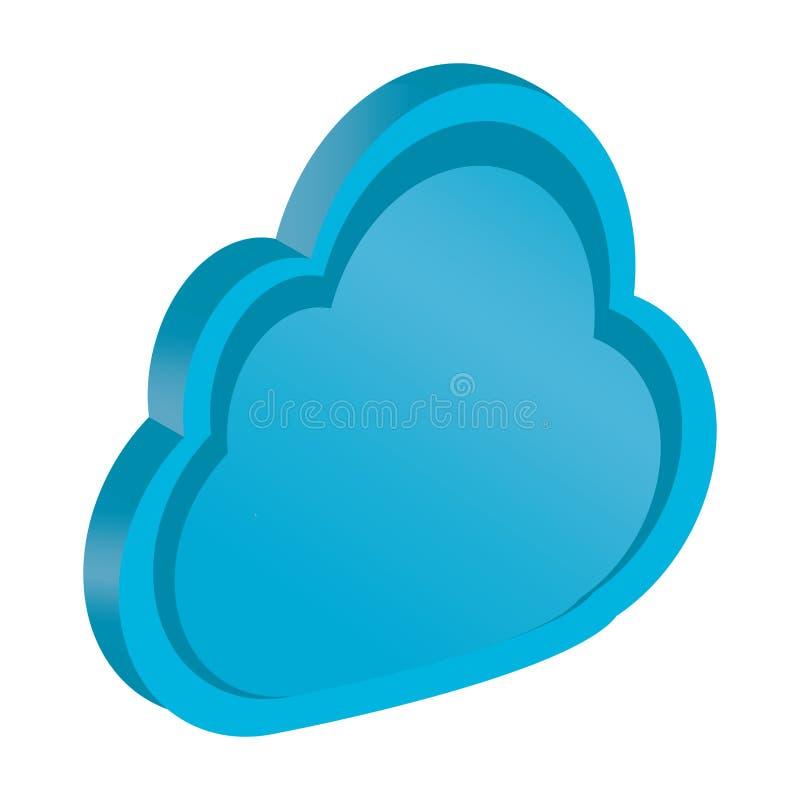 Απομονωμένο τρισδιάστατο μπλε σύννεφο Υπολογισμός σύννεφων απεικόνιση αποθεμάτων