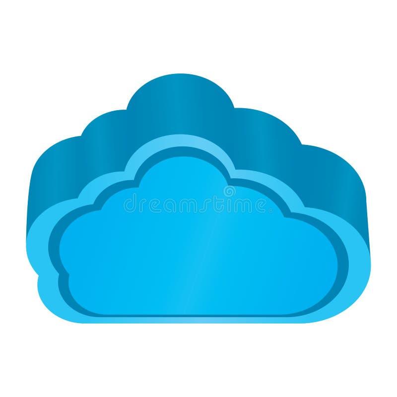 Απομονωμένο τρισδιάστατο μπλε σύννεφο Υπολογισμός σύννεφων διανυσματική απεικόνιση