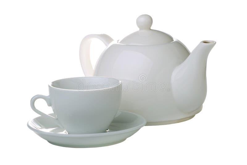 απομονωμένο φλυτζάνι teapot τσαγιού στοκ εικόνα με δικαίωμα ελεύθερης χρήσης