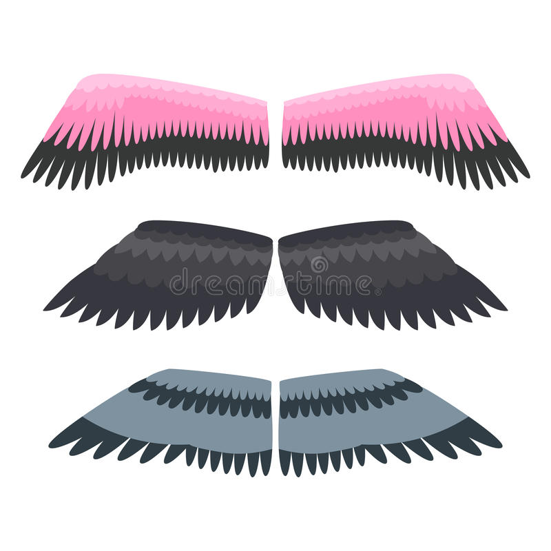 Απομονωμένο φτερά ζωικό διάνυσμα πτήσης ελευθερίας πουλιών γραναζιών φτερών διανυσματική απεικόνιση