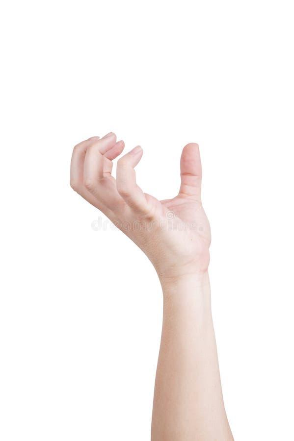 απομονωμένο χέρι αρσενικό ανασκόπησης που φθάνει διαμορφωμένος κάτι καλά άσπρο στοκ φωτογραφία με δικαίωμα ελεύθερης χρήσης