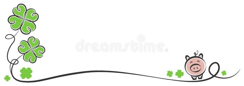 Απομονωμένο χοίρος διάνυσμα τριφυλλιών σχεδίων καλής χρονιάς διανυσματική απεικόνιση
