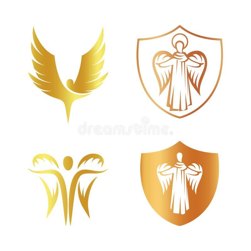 Απομονωμένο χρυσό σύνολο λογότυπων σκιαγραφιών αγγέλου χρώματος, ασπίδα με τη θρησκευτική συλλογή στοιχείων logotype, κάλυψη του  απεικόνιση αποθεμάτων