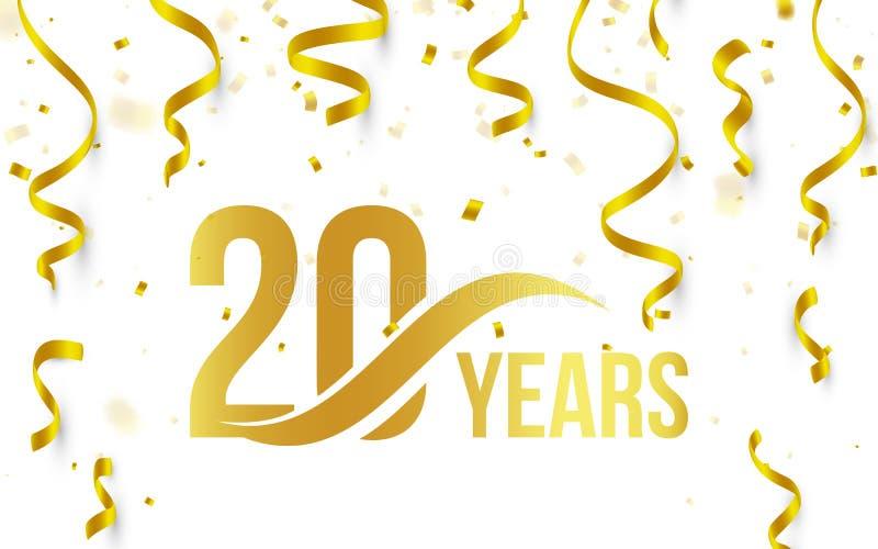 Απομονωμένο χρυσό χρώμα αριθμός 20 με το εικονίδιο ετών λέξης στο άσπρο υπόβαθρο με το μειωμένες χρυσές κομφετί και τις κορδέλλες απεικόνιση αποθεμάτων