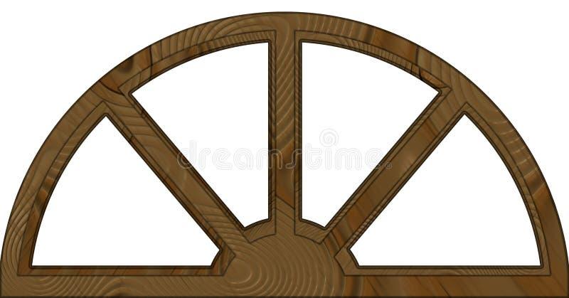 Απομονωμένο δύο στρώσεων σχηματισμένο αψίδα ξύλινο πλαίσιο παραθύρων διανυσματική απεικόνιση
