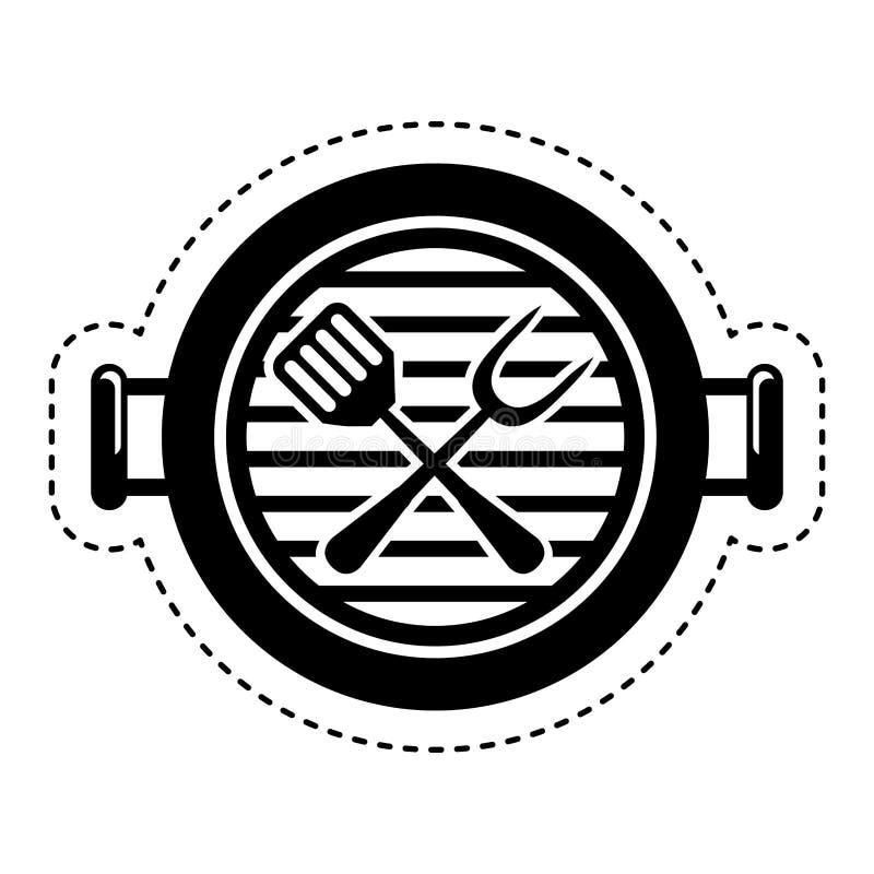 απομονωμένο bbq εικονίδιο σχαρών διανυσματική απεικόνιση