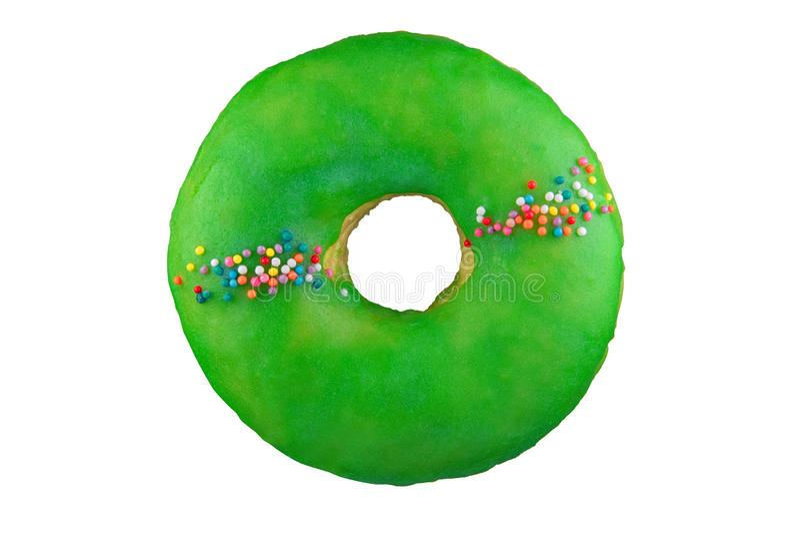 Απομονωμένο doughnut με το πράσινο λούστρο πυροβοληθείς στο σωρό Φωτογραφισμένος με τη συσσώρευση στοκ φωτογραφία με δικαίωμα ελεύθερης χρήσης