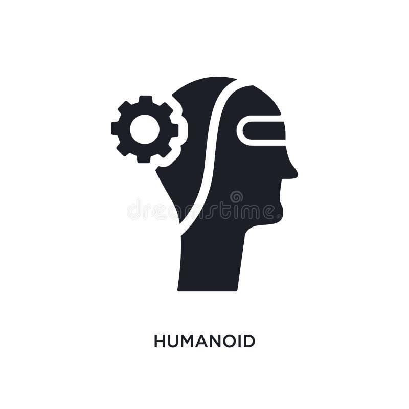 απομονωμένο humanoid εικονίδιο απλή απεικόνιση στοιχείων από τα τεχνητά εικονίδια έννοιας intellegence editable σύμβολο σημαδιών  διανυσματική απεικόνιση