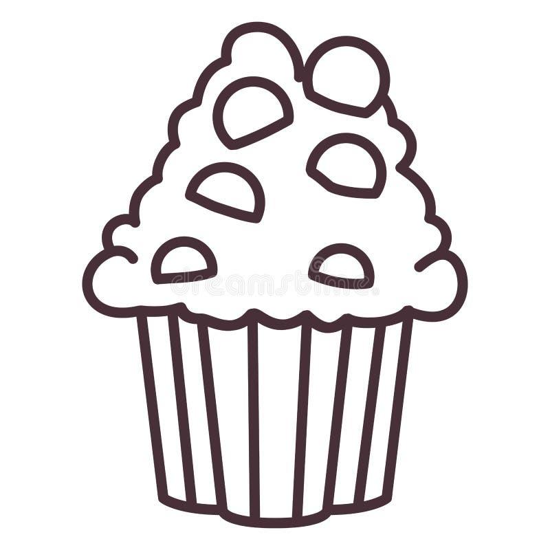 Απομονωμένο muffin σχέδιο σκιαγραφιών απεικόνιση αποθεμάτων
