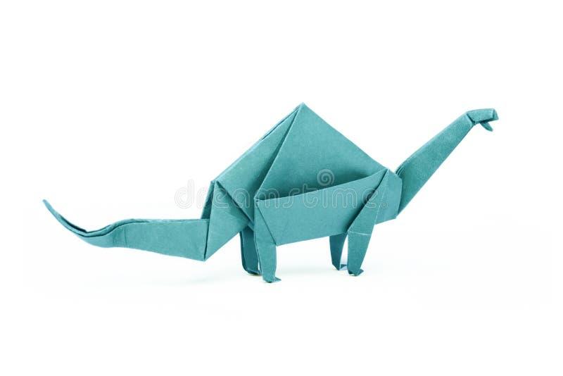 Απομονωμένο origami brontosaurus δεινοσαύρων εγγράφου μπλε στοκ φωτογραφία