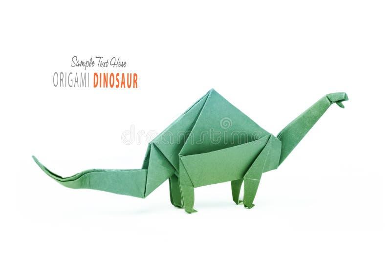 Απομονωμένο origami brontosaurus δεινοσαύρων εγγράφου πράσινο στοκ εικόνα με δικαίωμα ελεύθερης χρήσης