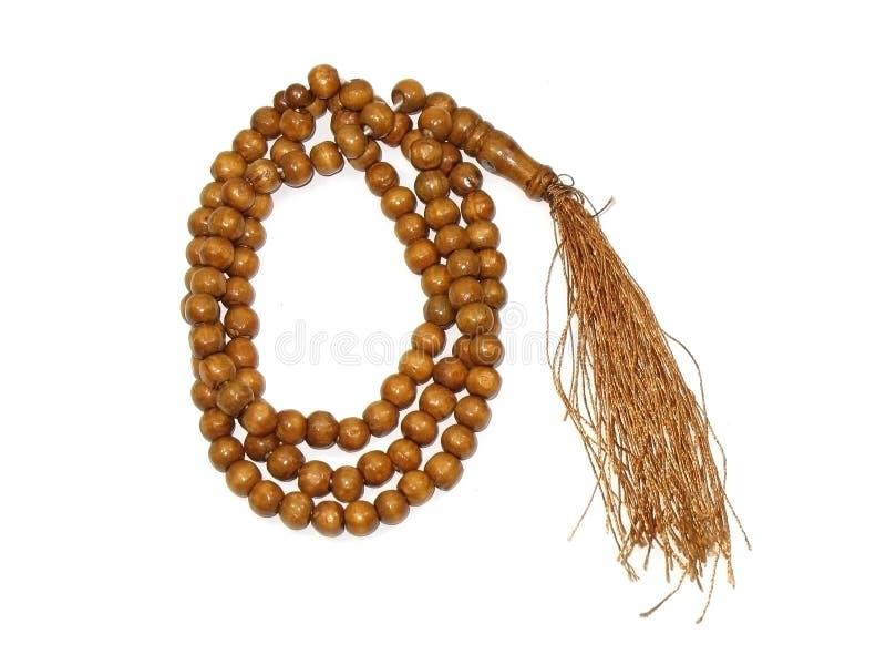 απομονωμένο rosary ξύλινο στοκ εικόνα