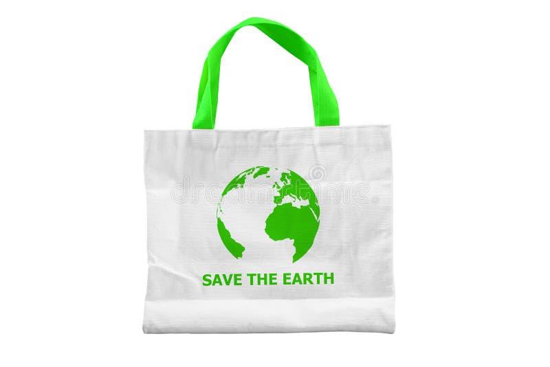 Απομονωμένο SAVE η τσάντα ΓΉΙΝΟΥ υφάσματος στοκ φωτογραφία