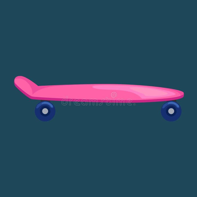 Απομονωμένο skateboard με τη ρόδα για τον ενεργό τρόπο ζωής, ακραία δραστηριότητα αθλητικής νεολαίας, vecto μεταφορών οδών ισορρο απεικόνιση αποθεμάτων