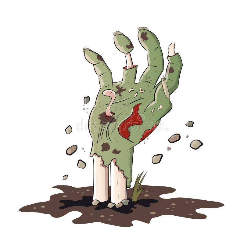 Απομονωμένο zombie χέρι διανυσματική απεικόνιση