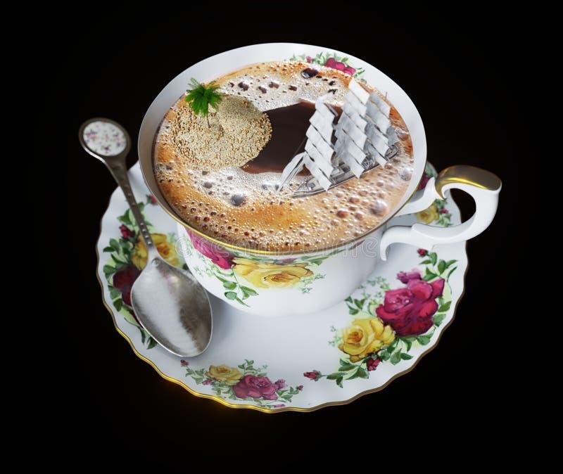 απομονώστε ακόμα τη ζωή με το φλυτζάνι καφέ και τη στενή επάνω φωτογραφία διακοπών χαλάρωσης έννοιας βαρκών παιχνιδιών στοκ εικόνες