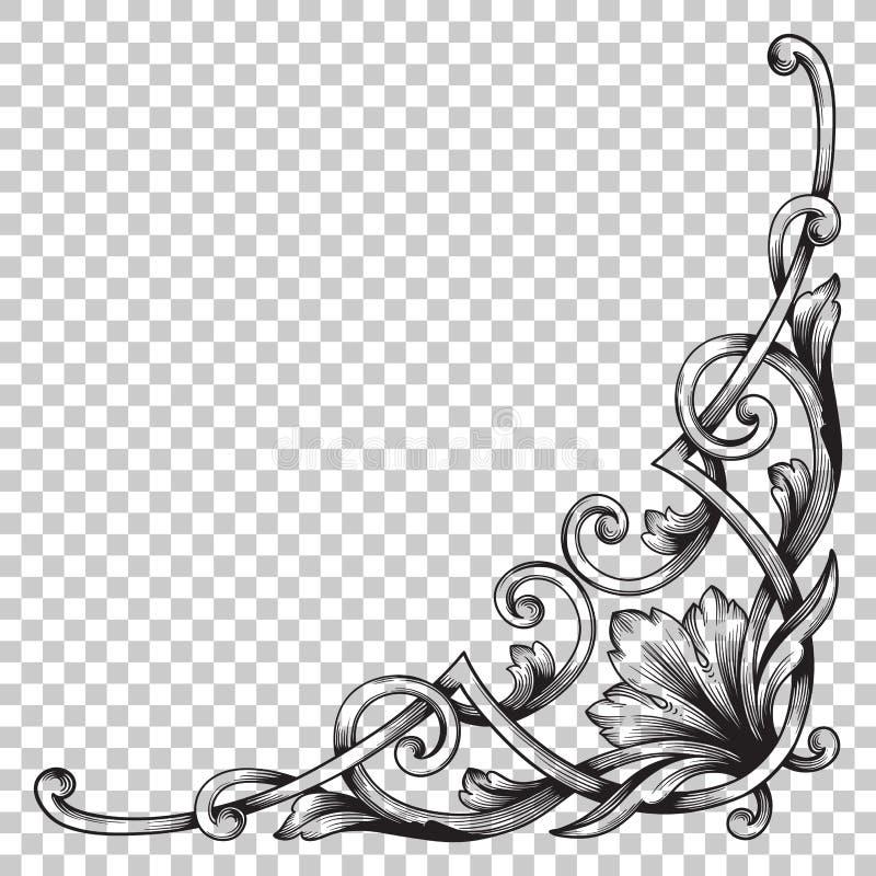 Απομονώστε τη διακόσμηση γωνιών στο μπαρόκ ύφος διανυσματική απεικόνιση