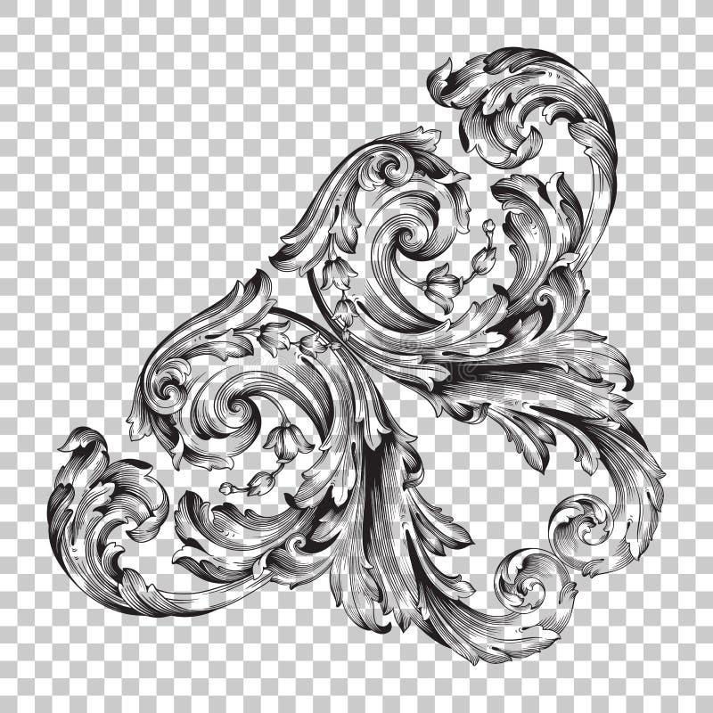 Απομονώστε τη διακόσμηση γωνιών στο μπαρόκ ύφος απεικόνιση αποθεμάτων