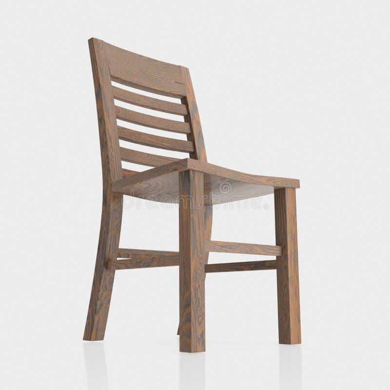 Απομονώστε τη σκοτεινή ξύλινη έδρα σε μια άνευ ραφής και μικρή αντανακλαστική επιφάνεια ελεύθερη απεικόνιση δικαιώματος
