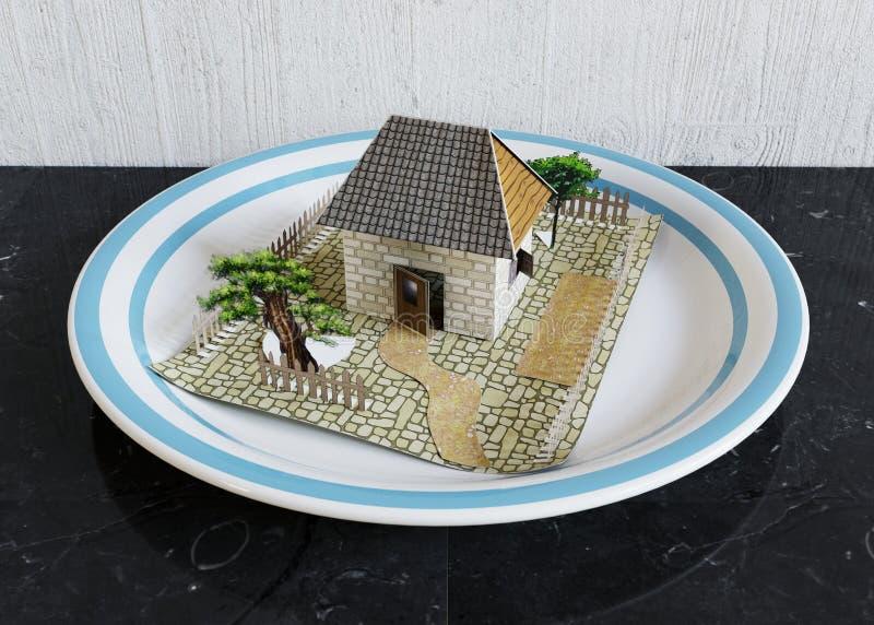 απομονώστε το σπίτι στο πιάτο με την μπλε επιχειρησιακή έννοια ακίνητων περιουσιών συνόρων στοκ εικόνες