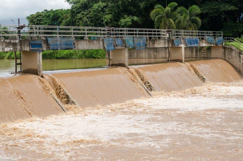Αποξήρανση στο φράγμα όταν πλημμύρες στη περίοδο βροχών στοκ εικόνες