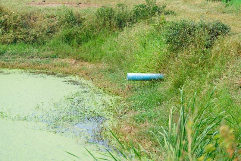 Αποξετεύσεις PVC στο κανάλι, τα λύματα και το νερό άρδευσης στοκ φωτογραφία με δικαίωμα ελεύθερης χρήσης