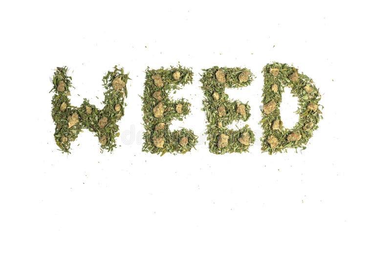 Αποξηραμένη μαριχουάνα καννάβις χόρτο με λουλούδια και μπουμπούκια γράφει τη λέξη WEED απομονωμένη σε λευκό φόντο στοκ εικόνες