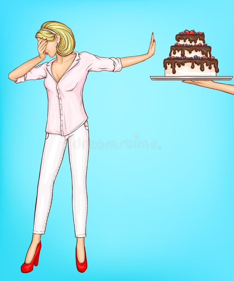 Απορρίματα γυναικών που τρώνε το κομμάτι κέικ με τη χειρονομία στάσεων ελεύθερη απεικόνιση δικαιώματος