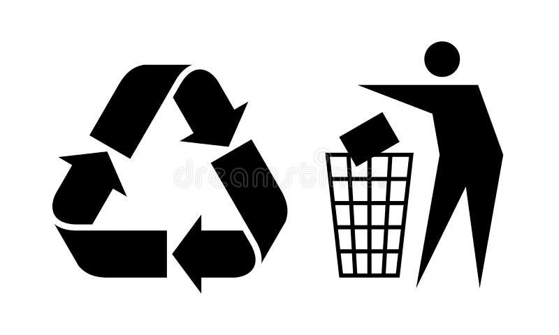 Απορρίματα και ανακύκλωσης σημάδι απεικόνιση αποθεμάτων