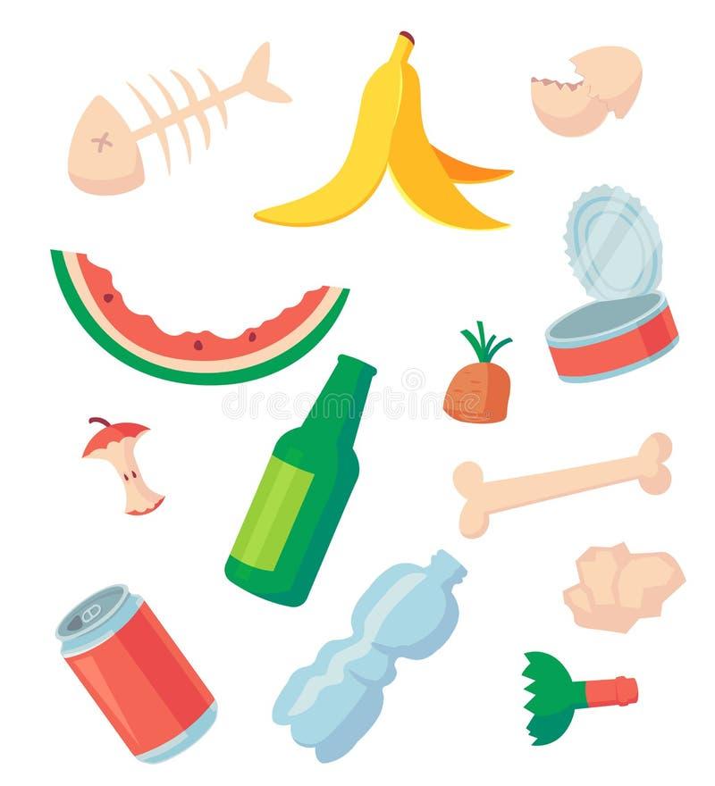 Απορρίματα που ταξινομούν: απόβλητα τροφίμων, γυαλί, μέταλλο και έγγραφο, πλαστικός ηλεκτρονικός, οργανικά Σωρός της μυρωδιάς των ελεύθερη απεικόνιση δικαιώματος
