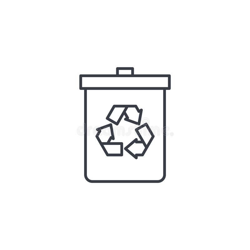 Απορρίμματα που ανακυκλώνουν το λεπτό εικονίδιο γραμμών Γραμμικό διανυσματικό σύμβολο ελεύθερη απεικόνιση δικαιώματος