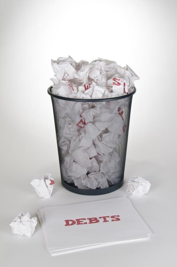 απορρίμματα χρεών δοχείων στοκ εικόνα με δικαίωμα ελεύθερης χρήσης