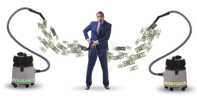 Απορροφώντας χρήματα επιχειρηματιών και ηλεκτρικών σκουπών από τον στοκ φωτογραφία με δικαίωμα ελεύθερης χρήσης