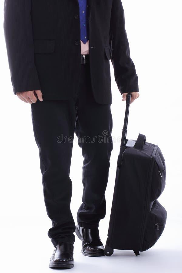 Αποσκευές εκμετάλλευσης επιχειρηματιών ταξιδιού στοκ εικόνες