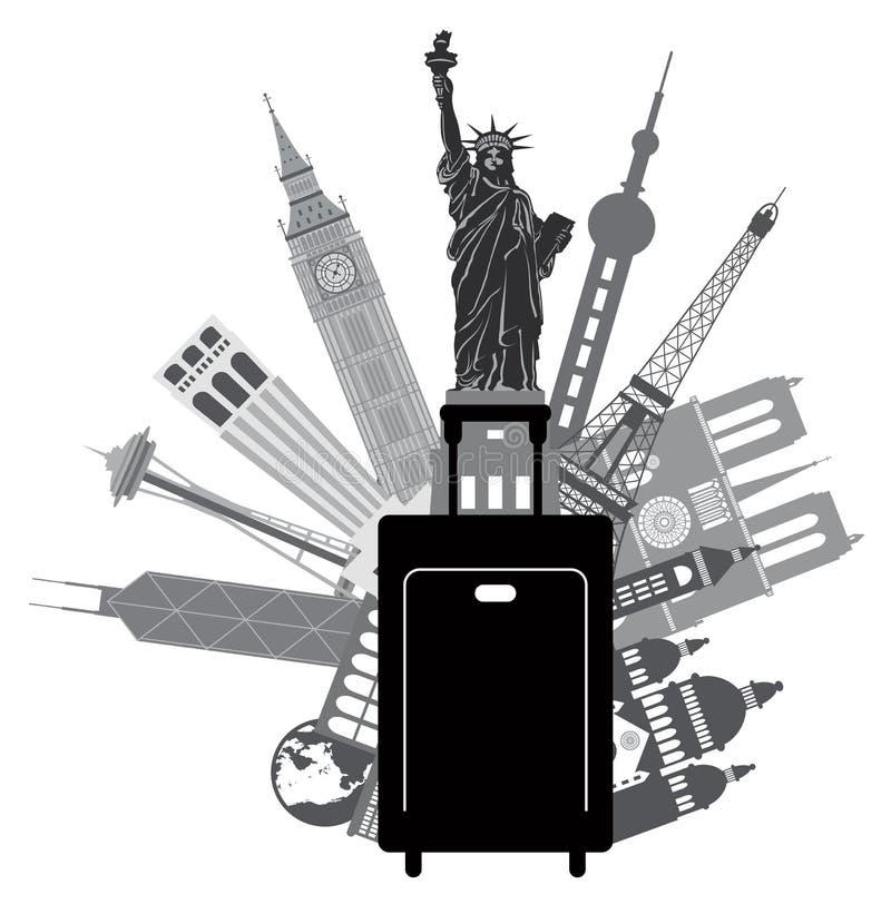 Αποσκευές και εικονικά κτήρια για τη διανυσματική απεικόνιση παγκόσμιου ταξιδιού απεικόνιση αποθεμάτων