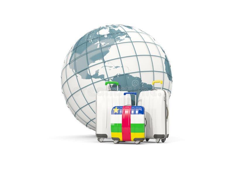 Αποσκευές με τη σημαία της Δημοκρατίας Κεντρικής Αφρικής Τρεις τσάντες μέσα για διανυσματική απεικόνιση
