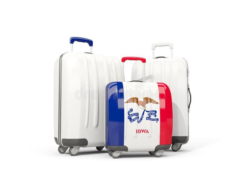 Αποσκευές με τη σημαία του Iowa Τρεις τσάντα με τις Ηνωμένες Πολιτείες τοπικό φ απεικόνιση αποθεμάτων