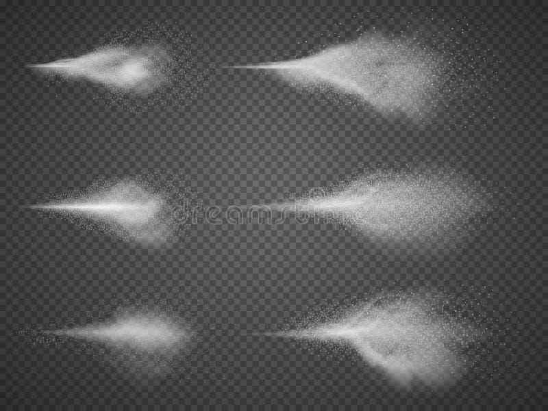 Αποσμητικό διανυσματικό σύνολο ομίχλης ψεκαστήρων Υδρονέφωση ψεκασμού αερολύματος νερού ελεύθερη απεικόνιση δικαιώματος