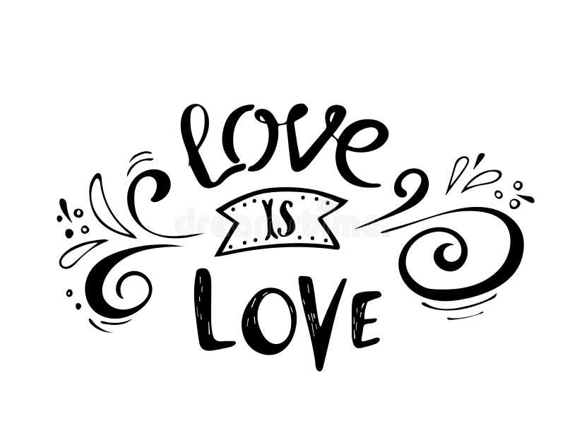 αποσπάσματα Η αγάπη είναι αγάπη Συλλογή αγάπης εγγραφής βαλεντίνων Συρμένη χέρι εγγραφή με το όμορφο κείμενο για την αγάπη τέλειο απεικόνιση αποθεμάτων