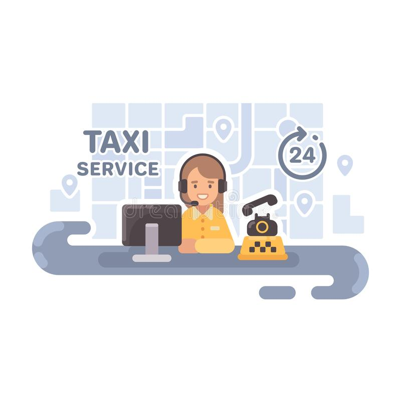 Αποστολέας ταξί στο γραφείο της Επίπεδη απεικόνιση υπηρεσιών ταξί διανυσματική απεικόνιση