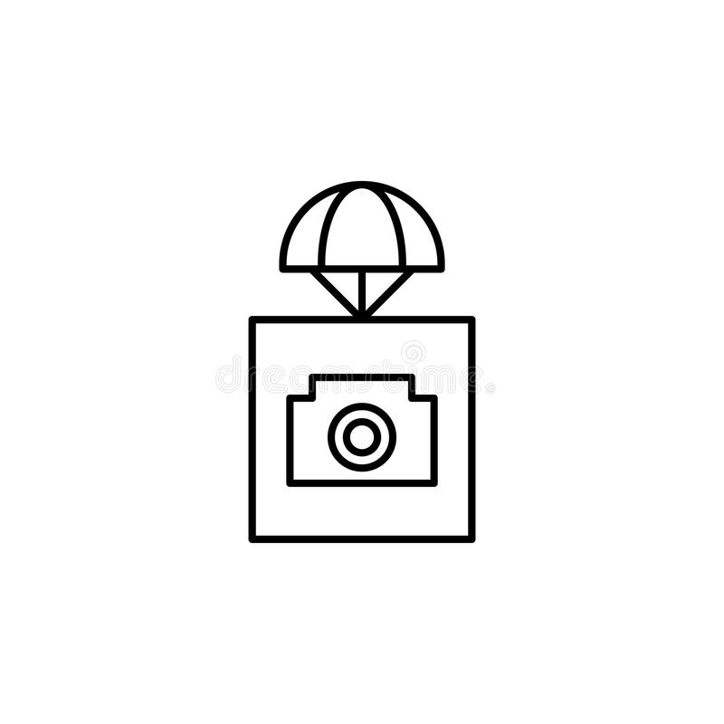 αποστολή με το εικονίδιο καμερών Στοιχείο των κηφήνων για την κινητή απεικόνιση έννοιας και Ιστού apps Λεπτό εικονίδιο γραμμών γι διανυσματική απεικόνιση